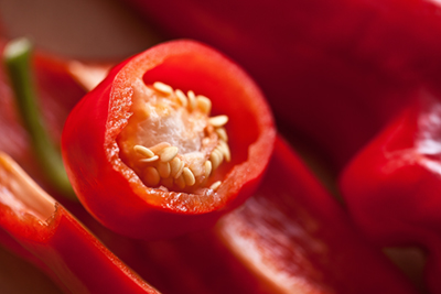 Cayenne pepper with seeds close up