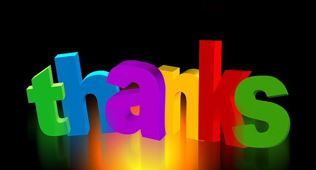 The words Thank you in bright colored letters