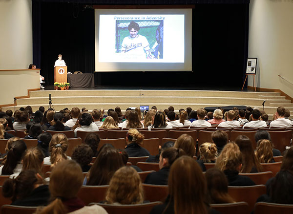 Junior high school students filled Regina Dominican's auditorium for the Junior High Leadership Conference