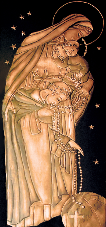 Madonna and Child giving rosary to St. Dominic copper art relief