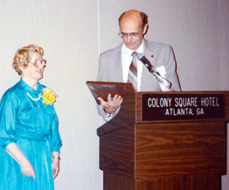 Sister Susanne Hofweber, OP, receives the NCDD (National Conference of Diocesan Directors) Award during the April 1990 meeting in Atlanta, Georgia