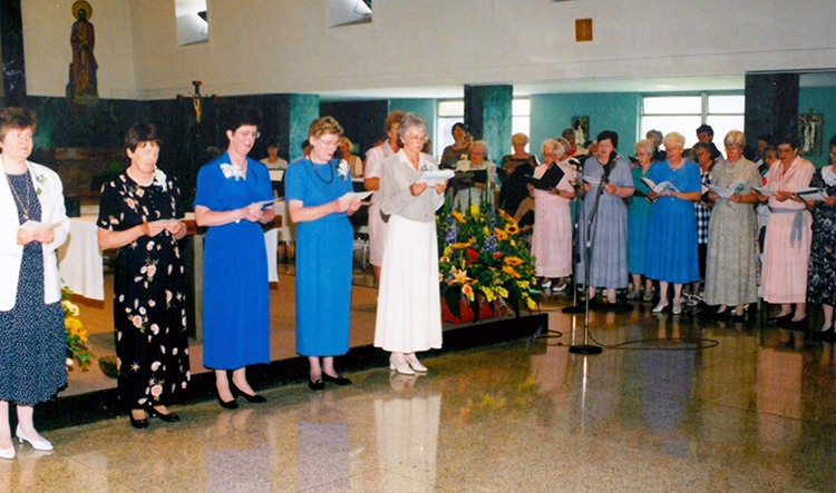 Janet Capone at Transfer of Leadership ceremony 1998
