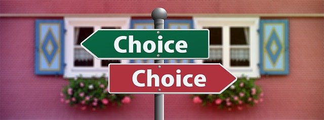 Two signs pointing to choices