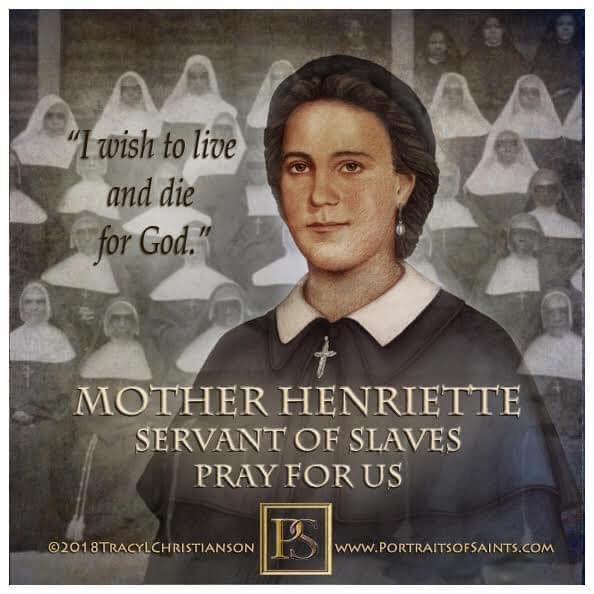 portrait image of Henriette Delille against a black and white photograph of Black sisters in habit