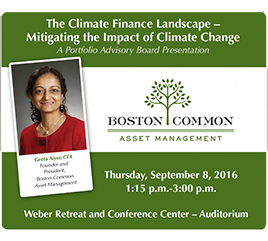 Geeta Aiyer, CFA, to Speak on Finance and Climate Change to PAB Board